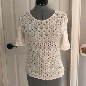 White see through lace shirt